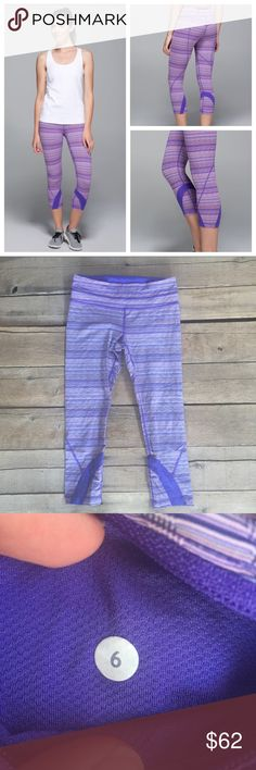 Lululemon Run: Inspire Crop II All Luxtreme Great condition! Print is Space Dye Twist Iris Flower Pink Shell, see last picture for full product description. lululemon athletica Pants Leggings