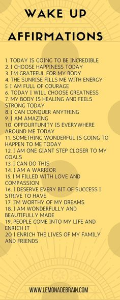 Affirmations for Success - Lemonade Brain I'm going to keep this one short and sweet. We all know that I LOVE affirmations. It may sound crazy, I know, but I swear to you that positive affirmations have really enriched and blessed … Affirmations Positives, Positive Affirmations Quotes, Affirmation Quotes, Positive Quotes, Miracle Morning Affirmations, Positive Affirmations For Success, Affirmations For Happiness, Affirmations For Anxiety, Chakra Affirmations