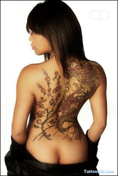 Dragon tattoo with cherry blossoms