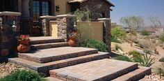 Steps and walls add variety and create interest in your home landscape. #DublinPaver #CeltikWall
