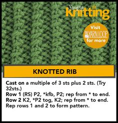 How to knit the Knotted Rib Stitch Rib Stitch Knitting, Knitting Paterns, Loom Knitting, Free Knitting, Knit Stitches, Baby Knitting, Knitting Hats, Knitting Ideas, Knitting Designs