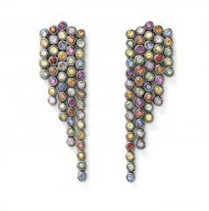 multi sapphire fringe earrings