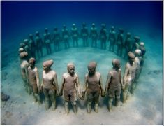 jabblog: Underwater sculpture park in Grenada: Scupture by Jason deCaires Taylor was conceived to honour African slaves who were thrown overboard from the slave ship 'Zong'. Over time these sculptures in the clear waters of Grenada will develop into artifical coral reefs.
