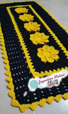 Tapete Retangular em croche  Preto y Amarelo - Jaqueline Matias - Arte em Croche