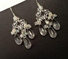 Clear Quartz Crystal Chandelier Earrings by DoolittleJewelry