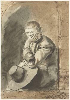 Jurriaan Cootwijck   Zittende man, Jurriaan Cootwijck, Rembrandt Harmensz. van Rijn, 1724 - 1798   Een man zit in een nis. Met zijn ene hand ondersteunt hij zijn hoofd. In zijn andere hand houdt hij zijn hoed vast.