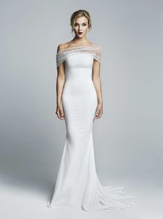 White dress with shoulder net