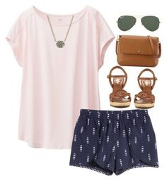 Polyvore featuring Uniqlo, Jack Rogers, Ray-Ban, Kendra Scott and Tory Burch
