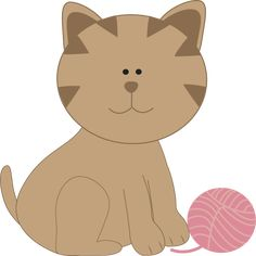 Kitty Cat Playing with Yarn Clip Art