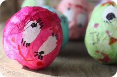 wobbly monster eggs - easter egg and a marble- cover w/ tissue paper and decorate