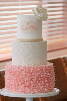 Elegant Pearl & Pink Ruffle Cake - for a little girl's birthday or a stylish baby shower Fancy Cakes, Cute Cakes, Pink Ruffle Cake, Fondant Ruffles, Ruffled Cake, Buttercream Ruffles, Communion Cakes, Gorgeous Cakes, Occasion Cakes