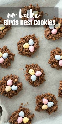 These No Bake Birds Nest Cookies are made with oats, corn flakes, mini eggs, peanut butter and are perfect for Easter or Spring! The kids will go nuts for them! Includes step by step recipe video   no bake cookies   peanut butter cookies   corn flake cookies   Easter candy