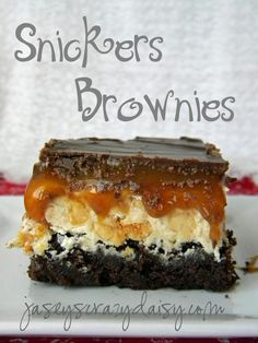 Snickers Brownies - Jasey's Crazy Daisy.. Delicious but does not come out this pretty.. Looks like a mess.