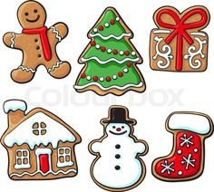 """Buy the royalty-free Stock vector """"Set of glazed homemade Christmas gingerbread cookies, sketch style"""" online ✓ All rights included ✓ High resolution ve. Christmas Tree Cookies, Christmas Owls, Christmas Drawing, Christmas Gingerbread, Christmas Clipart, Christmas Design, Christmas Themes, Gingerbread Cookies, Christmas Crafts"""