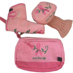 Winning Edge Golf Fore Life Ladies Golf Combos - Putter Cover & Accessory Bag (Pink Ribboon)