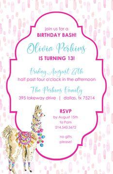 Kids Birthday Invitations - partyinvitations.com Birthday Invitations Kids, Birthday Bash, Four O Clock, Free Paper, Invitation Design, Rsvp, Card Stock, Dress Up, Llamas