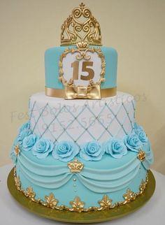 Birthday cake ideas sweet 16 tiffany blue new Ideas Pretty Cakes, Cute Cakes, Beautiful Cakes, Sweet 16 Birthday, Birthday Cake, Gold Birthday, Fondant Cakes, Cupcake Cakes, Tiffany Sweet 16