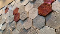 Cotto fatto a mano, smalto iridescent, materia.  Artigianato.  Cotto Etrusco a #Cersaie, pad. 22. Handmade terracotta wall tiles by Cotto Etrusco. Pav. 22 #MCaroundCersaie #Cersaie Glazed Tiles, Terracotta, Floors, Tile Floor, French, Interior Design, Stone, Kitchen, Projects