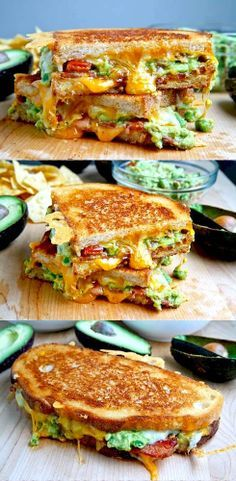Bacon Guacamole Grilled Cheese Sandwich - Made these and it was delish! I have to have a gourmet grilled cheese sandwich party one of these days! Think Food, I Love Food, Food For Thought, Good Food, Yummy Food, Healthy Food, Healthy Eating, Healthy Recipes, Vegan Food