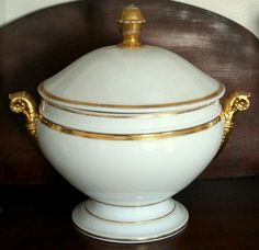 C1840 Classical Old Paris Covered Tureen White Porcelain Gilt Trim | eBay