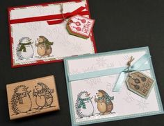 Stampin Up Holiday Hedgehog Christmas Winter Snow Stamp - So Adorable!