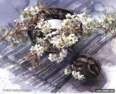 Ink Painting, Watercolor Paintings, Watercolours, Watercolor And Ink, Watercolor Flowers, Japanese Waves, Wonderful Flowers, Still Life Art, Japanese Artists