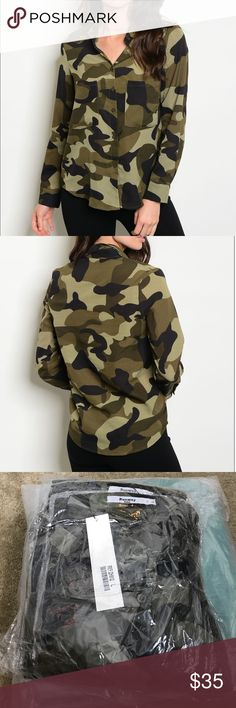 "Camo Army Button Down Chic and Sleek. Description: L: 25"" B: 36"" W: 36"" 100% POLYESTER Tops Button Down Shirts"