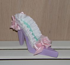 Pastel with PInk Flowers High Heel 3D Paper Shoe OOAK, READY to SHIP - pinned by pin4etsy.com