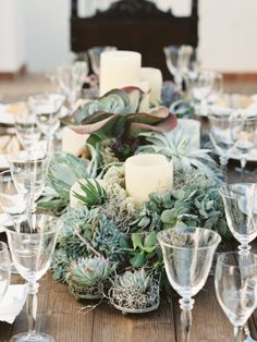 Succulent centerpice // Photos by Joseba Sandoval flowers by Pedro Navarro pedro Succulent Wedding Centerpieces, Succulent Arrangements, Candle Centerpieces, Wedding Arrangements, Floral Arrangements, Succulent Table Decor, Candles, Wedding Decorations, Table Decorations