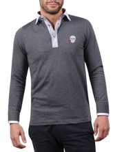 Polo homme gris col blanc broderie Hotrod