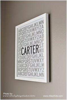 Alphabet Name Poster, Nursery Art, Personalized Childrens Art, Alphabet Poster, via Etsy Owl Nursery, Nursery Decor, Nursery Design, Nursery Ideas, Bedroom Ideas, Room Decor, Wall Decor, Bob Marley, Name Wall Art