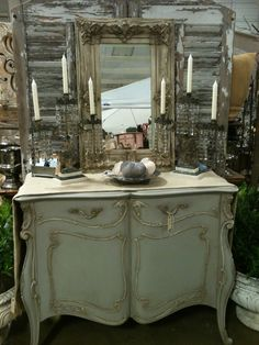 French dresser with vintage mirror.  Lovely color.   Remnants of the Past show.  Fall 2011