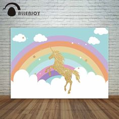 Allenjoy Jumping golden unicorn with rainbow and cloud backdrop for birthday party decoration photocall for a photo shoot