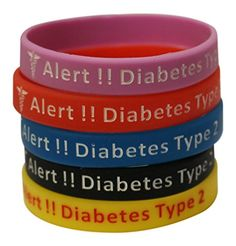 Type 2 Diabetes Bracelets Silicone Medical Alert Wristbands(Pack of 5) Blue, Yellow, Red, Black, Lavender $15