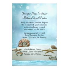 Lovely graphics of a sandy beach scene, with sea shells and star fish, at the bottom of the invitation, and a lovely blue and ethereal looking background, over the rest of the invitation. Description from zazzle.com.au. I searched for this on bing.com/images