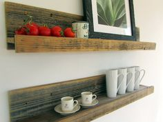 I could make these for the kitchen   Two 36-inch Wall-mounted Reclaimed Wood Shelves // Upcycled Recycled Repurposed on Etsy, $78.00