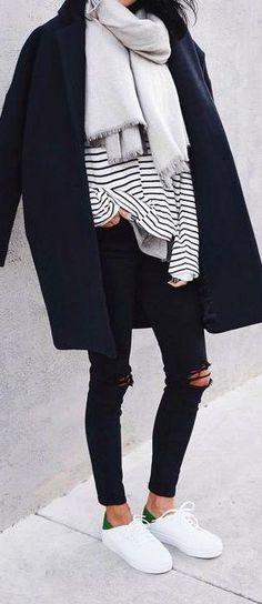 street style. black + white. stripes. adidas. stan smith.