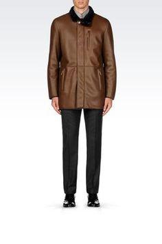 Armani Collezioni Men Leather And Fur at Armani Collezioni Pea Coat in Napa Sheepskin
