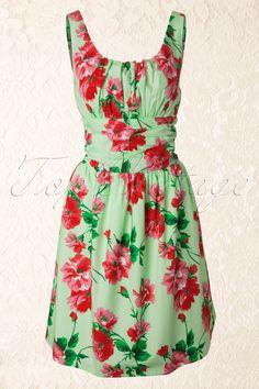Vixen - 50s Vintage Floral dress Green