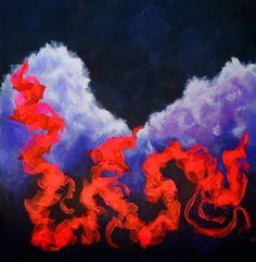 Original Abstract Painting by Kostas Korovilas Original Paintings, Original Art, Abstract Expressionism Art, Scarlet, Buy Art, Saatchi Art, Canvas Art, Clouds, Sky