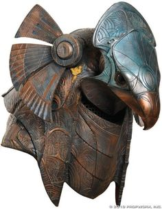 Egypt - Horus Guard Helmet Helmet worn by a Horus guard, used in the production of Stargate Horus guards protected Ra and his family - Stargate, Armadura Medieval, Sculpture Metal, Lion Sculpture, Larp, Zombi Pin Up, Anubis And Horus, Character Inspiration, Character Design