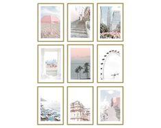 Blush Pink Wall Art Prints Set of 9 Pastel Photography Room Decor