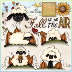 Autumn Sheep 1 - NE Trina Clark Clip Art