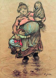 Heinrich Zille - H.Zille, Mutter mit zwei Kindern