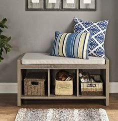 Zipcode Design Claudia Storage Bench with Cushion Finish: Beige Oak Storage Bench, Cubby Bench, Storage Bench With Cushion, Entryway Storage, Cubby Storage, Bedroom Storage, Entryway Bench, Entryway Decor, Extra Storage