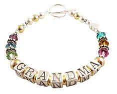 Grandma Bracelet in 14k gold and sterling silver & swarovski crystal birthstones - any personalization
