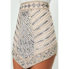Missguided Peace + Love  Triangle Studded Embellished Mini Skirt ($133) ❤ liked on Polyvore featuring skirts, mini skirts, short pink skirt, studded skirt, sequin mini skirt, sequin skirts and short skirts
