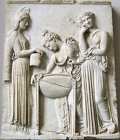 Vestal virgins babtise a new initative C.400 BCE. Berlin, Pergamum Museum. Credits: Ann Raia, 2005