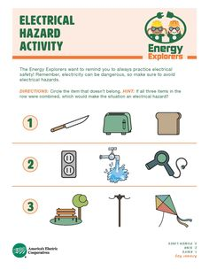 Spot hazards in and around your home with this fun activity sheet. Dangers Of Electricity, Science Electricity, Stem For Kids, Science For Kids, Worksheets For Kids, Printable Worksheets, Safety Rules For Kids, Health And Safety Poster, Workplace Safety Tips
