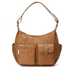 Rosetti Riveting Seams Convertible Hobo Bag ($41) ❤ liked on Polyvore featuring bags, handbags, shoulder bags, dark brown, vegan handbags, hobo shoulder bags, white hobo purse, vegan purses and hobo purses